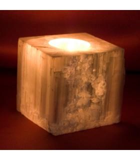 Portavelas Cubo Selenita - Mineral Bruto - Feng Shui