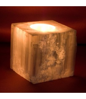 Cube Candle Holder Selenite - Mineral Bruto - Feng Shui