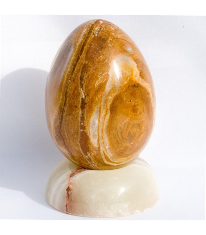Huevo de Onix Pulido - Mineral Natural - Tacto Agradable - Peana