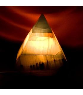 Lampara Onix Pirámide Azul - Mineral Natural - Luz Agradable