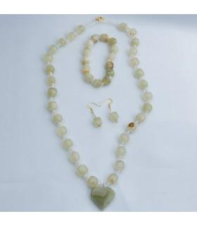 Set de bracelet d'Onyx vert - boucles d'oreilles - Collier - artisan