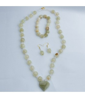 Set Green Onyx Necklace - Earrings - Bracelets - Artisan