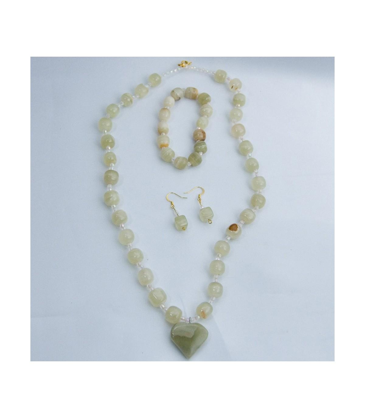 944aafb1023b Set Collar Onix Verde - Pendientes - Pulsera - Artesano - Online