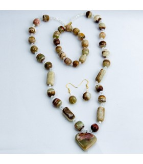Set collana bracciale onice marrone - orecchini - - artigiano