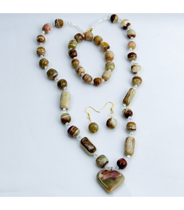 Set Brown Onyx Necklace - Earrings - Bracelets - Artisan