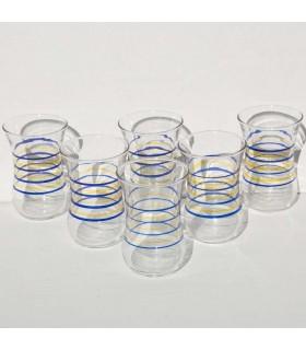 Juego de 6 Vasos Turcos - Modelo Rayas - Gran Calidad
