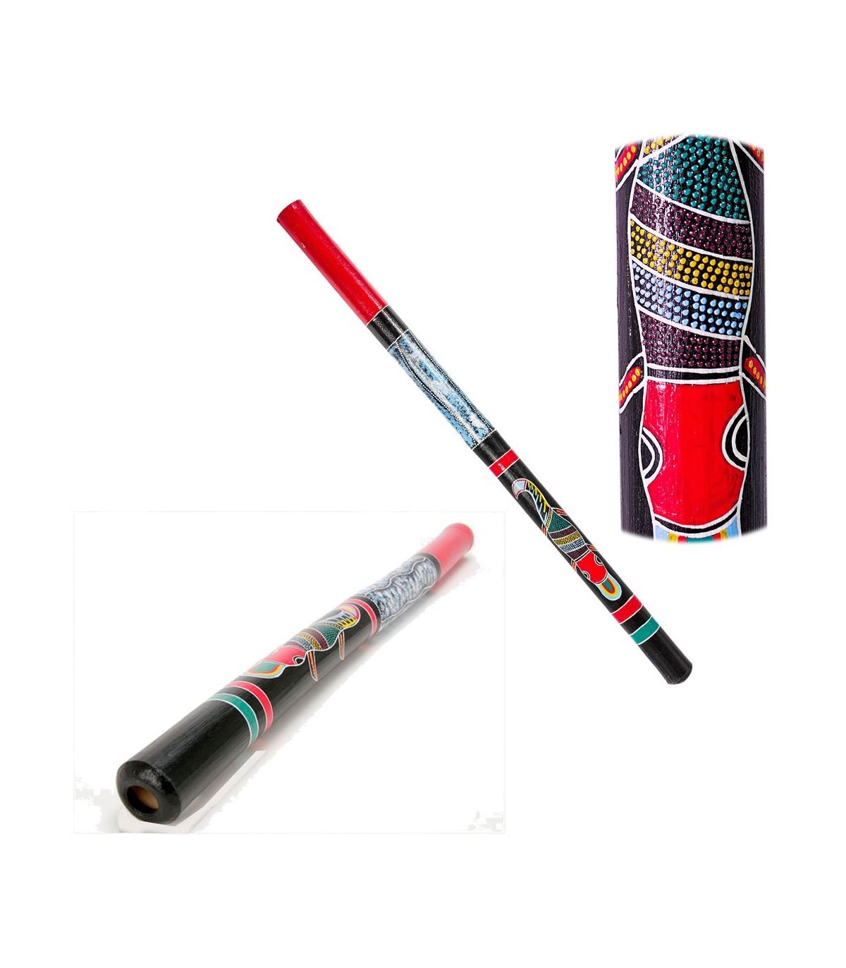 Didgeridoo legno - motivi etnici - dipinte a mano - 1m