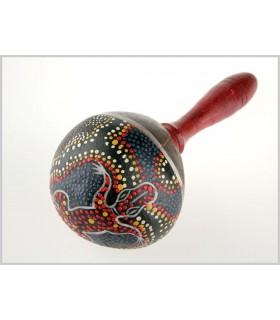 Maracas Madera Coco - Pintado a Mano - Diseño Cocodrilo