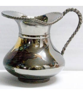 Vaso d'argento - decorato con fiori e stampe