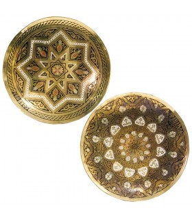 Bronze plate engraved - designs geometric Arab - 13 cm