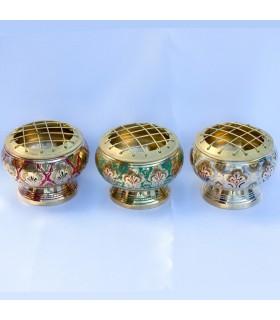 Encensoir bronze gravée - diverses couleurs - grilles