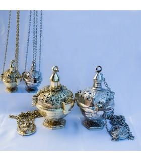 Räuchergefäß graviert aus Gusseisen - Kette 65 cm - Bronze oder nickel