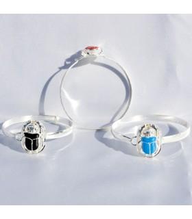Scarabeo placcato braccialetto egiziano - vari colori - cm 6