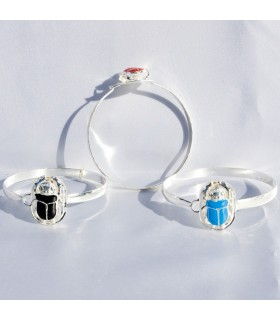 Egyptian Silver Scarab Bracelet - Various Colors - 6 cm