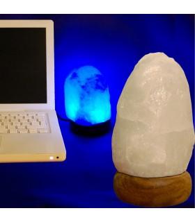 Mini Lámpara USB Sal Blanca Natural del Himalaya -Varios Colores
