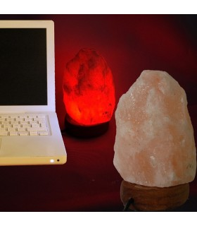 Lampe mini USB naturel sel d'Himalaya - Orange