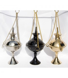 Incense burner censer - brass - nickel - black - 22 cm chain