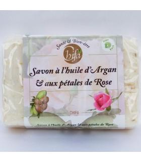 Natürliche Seife - Öl von Argan und Blütenblätter rose - 100gr - Chifa