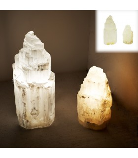 Lamp white Selenite - Natural - various sizes