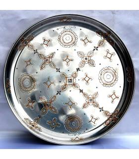 Mauretanischen Tee Tablett - round - handgemalt - ethnische - 30cm