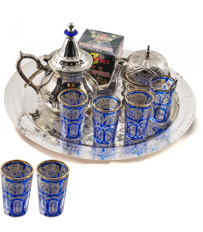 Juego de Té Arabe Completo- Tetera - Bandeja - Vasos - Azucarero