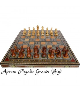 Folding chess game + chips wood (marquetry of Syria)