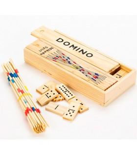 Set Mikado y Domino Madera  - 20 cm - Caja Transporte