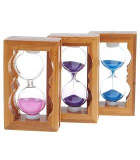 Orologio di sabbia in legno - vari colori - 9 cm