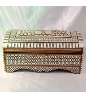 Jewelry box trunk - velvet - inlayed Egypt - large