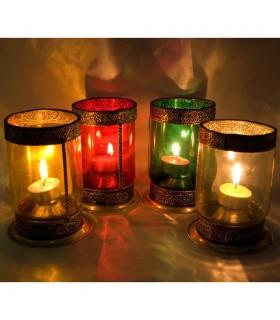 Zylindrisches Glas mit großen Alpaka Kerzenhalter - verschiedene Farben