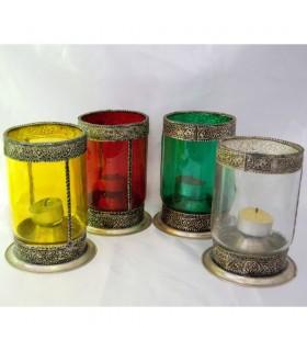 Portavelas Cilindrico de Cristal con Alpaca - Varios Colores