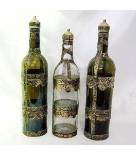 Glass bottle decorated with Alpaca - 2 colors - very nice