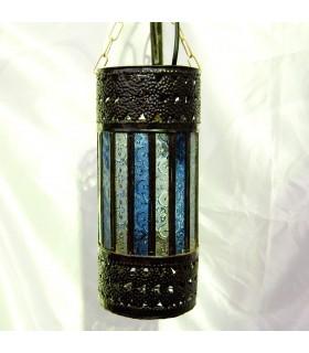 Lámpara Cilindro - Cristales Blanco y Azul - NOVEDAD