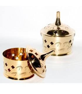 Gravierte Bronze Räuchergefäß - Zapfen oder Körnchen Weihrauch