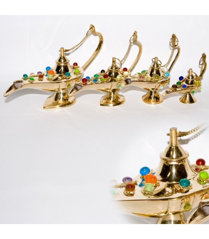 Set 4 Candíles Genio Aladino Bronce -Decorados con Diamantes