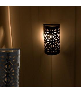 Artigiano di ferro traforato parete etnico - mezzo cilindro-