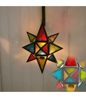 Lantern candle large multicolored star - draught Arabic-chain 35 cm