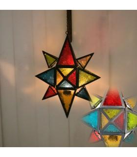 Farol Vela Estrella Multicolor Grande -Calado Arabe-Cadena 35 cm