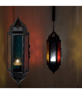 Lantern candle hex hang - draught Arabic - chain 25 cm