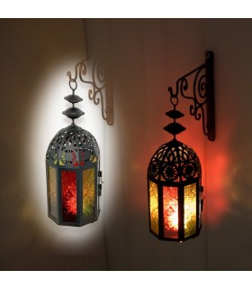 Multicolor Octogonal Candle Lantern -Decorated - Draft Arab
