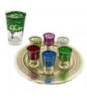 Juego 6 Vasos de Té Grabados - Relieve Diseño Floral Artesano