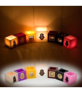 Portavelas Cubo Cera con Bronce Calado-Varios Colores/Tamaños