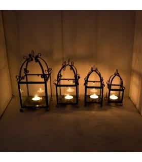 Lantern candle wrought iron and glass - craftsmen - Spanish production