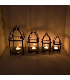 Lanterne bougie en fer forgé et verre - artisans - production espagnole