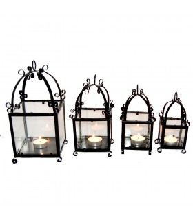 Фонарь свечи из кованого железа и стекла - ремесленники - испанского производства