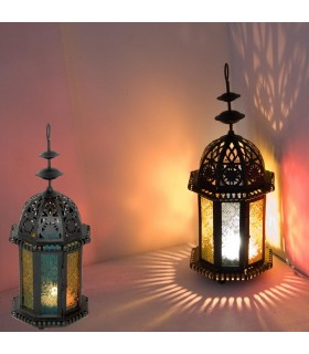 Decorated octagonal candle Lantern - permeated Arab - Multicolor
