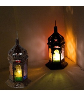 Farol  -Hexagonal - Multicolor - 25 cm - Grande