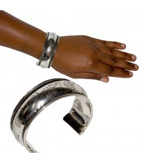 Silver bracelet - engraved elephants - Alpaca