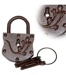 Padlock cast iron - includes key - print - 16 x 10 cm