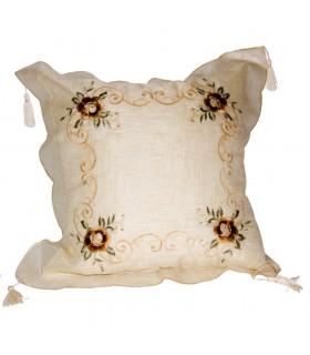 Cojín Seda Diseño Floral - 50 cm - Blanco o Crema